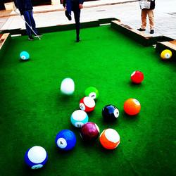 Footpool, snookball, billard footbal