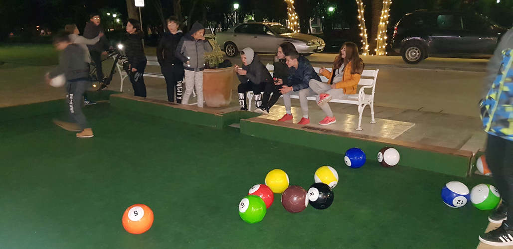 Night game of billard football on Hvar