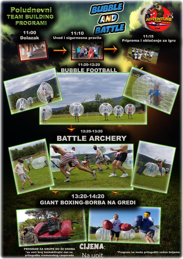 TB Nogoemtni teren 3 sata Bubble football, Battle Archery, Borba na Gredi, Giant boxing