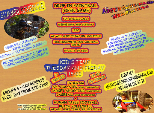 Summer   schedule for individuals Kids time and Paintball drop in  Things to do on Hvar Island for k