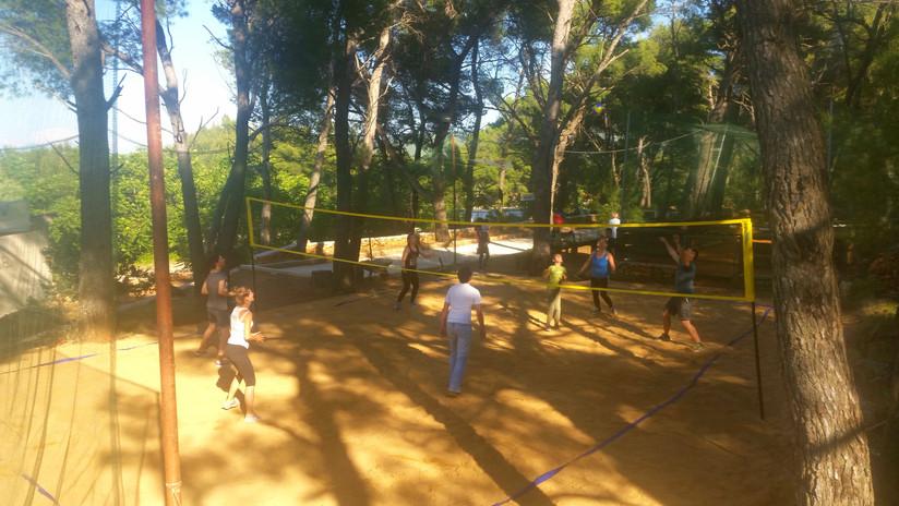 Beach volleyball tournament like teambuilding activitiy on Hvar island
