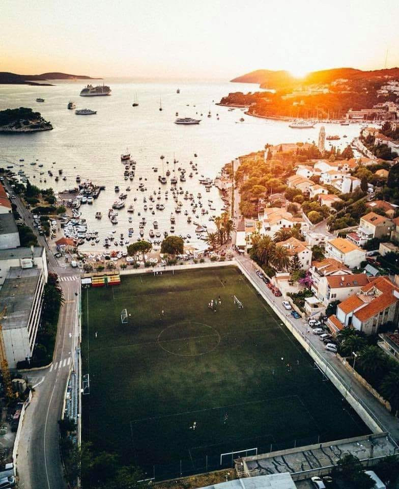 hvar town football field bubble football