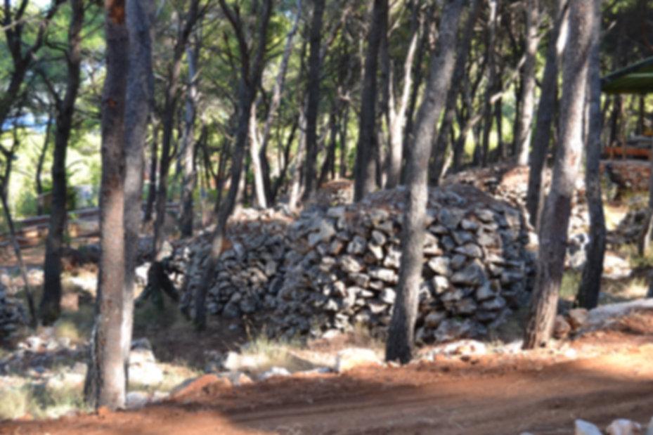Stone walls on Paintball field in Croatia