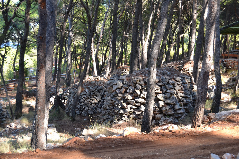 Stone walls on Paintball field in Croatia