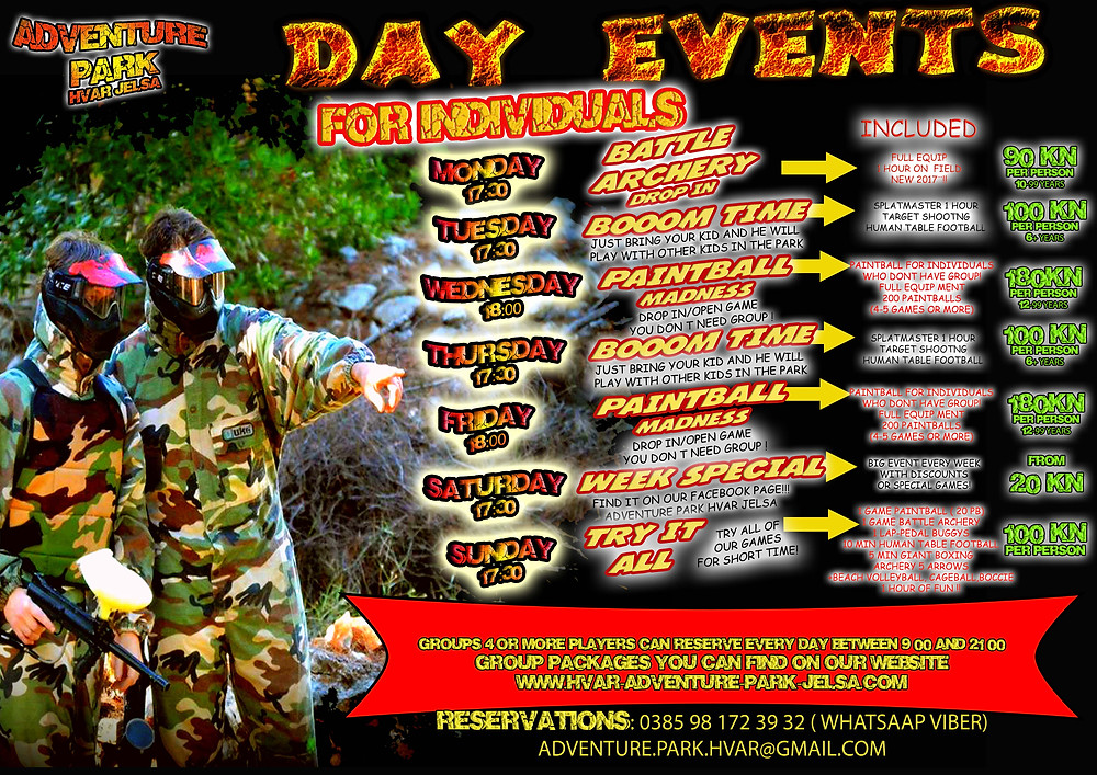 Day Events - Schedule 2017 Adventure park Hvar Jelsa