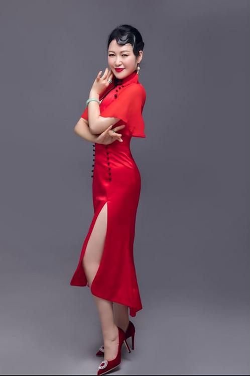 Side Knots Red High Slit Dress