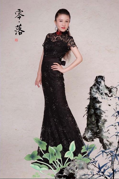 Back Ribbon Black Dress