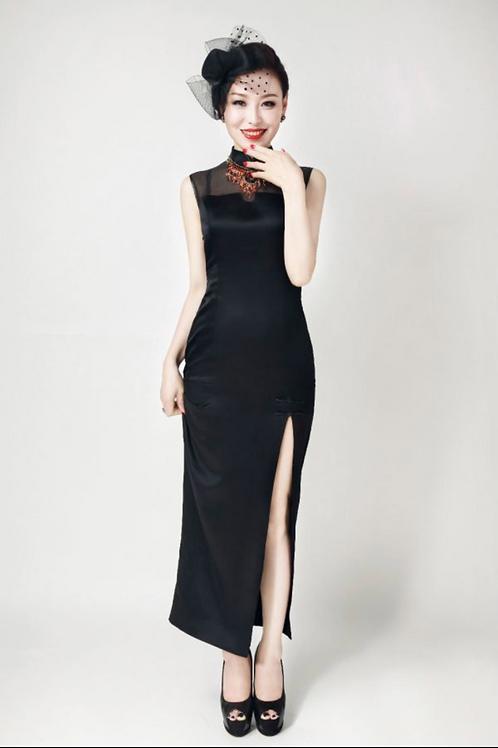Classic Black High Slit Dress