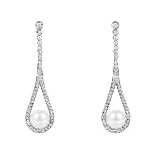 Cradled Pearl Drop Earrings Silver