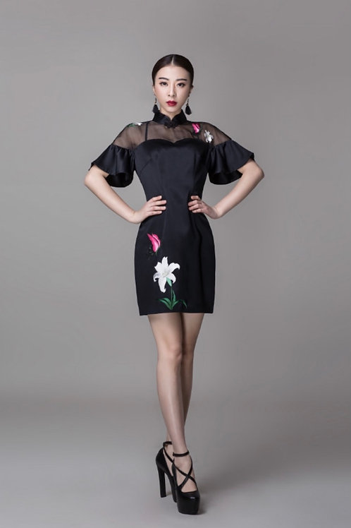 Bespoke Flower Embroidery Black Knee-length Dress