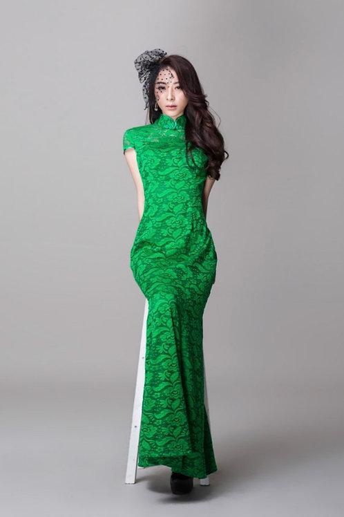 Bespoke Green Mesh Full Dress