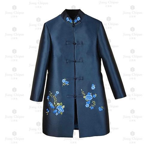 Mandarin Collar Floral Shu-embroidered Long Coat