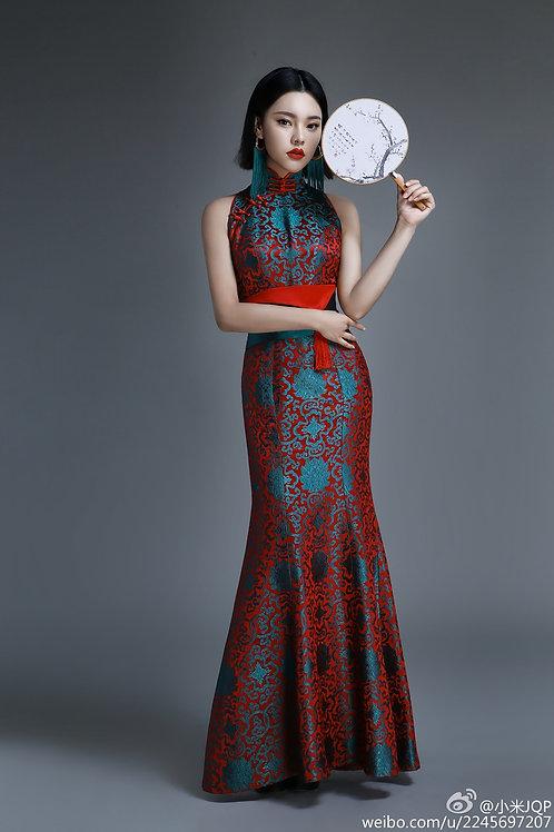 Bespoke Turquoise Red Mermaid Dress