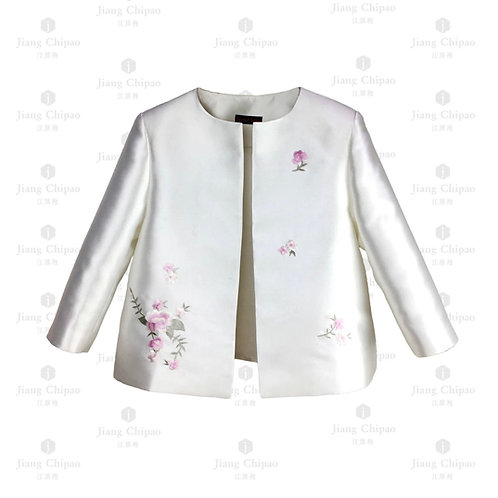 Oriental Floral Shu-embroidered Pearl White Coat