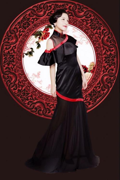 Bespoke Top Mesh Shoulder Wave Black Dress