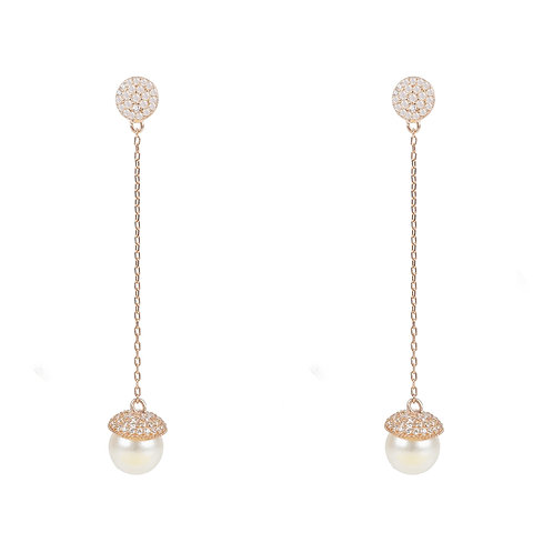 Pearl Long Drop Earrings Rosegold