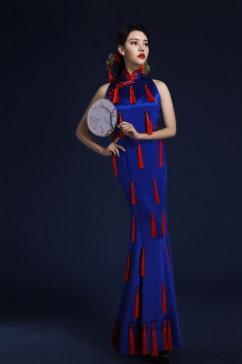 Dangling Red Accessories Blue Dress