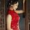 Thumbnail: Bespoke Moutan Peony Side Mesh Red Dress
