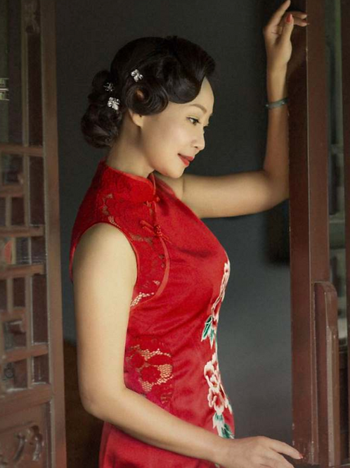 Moutan Peony Side Mesh Red Dress