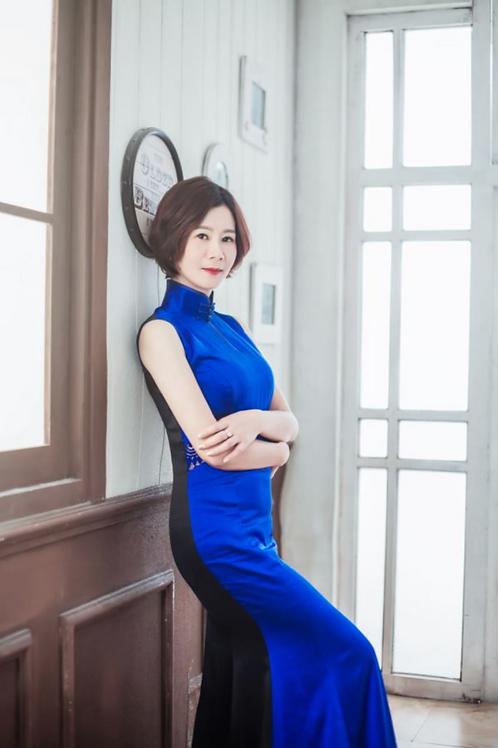 Bespoke Side Mesh Blue Dress