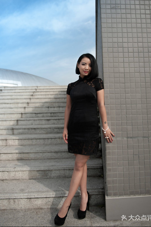 Bespoke Black Shoulder Mesh Knee Length Dress