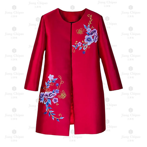 Oriental Floral Shu-embroidered Red Long Coat
