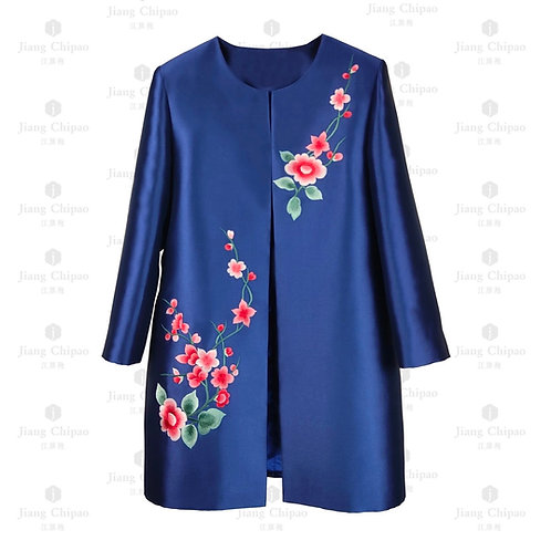 Oriental Floral Shu-embroidered Blue Long Coat