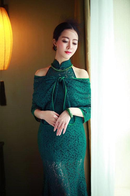 Bespoke Jade Green Mesh Full Dress