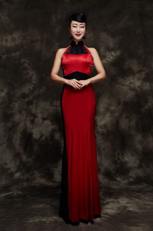 Bespoke Classic Black Band Red Dress