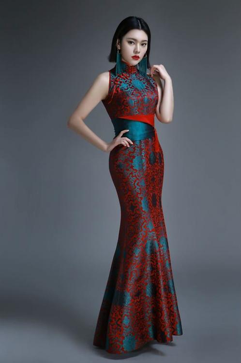 Turquoise Red Mermaid Dress