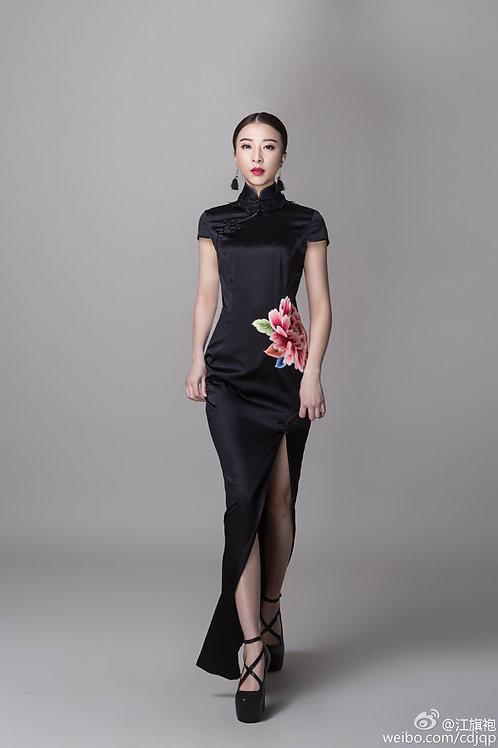 Bespoke Moutan Peony High Slit Black Dress