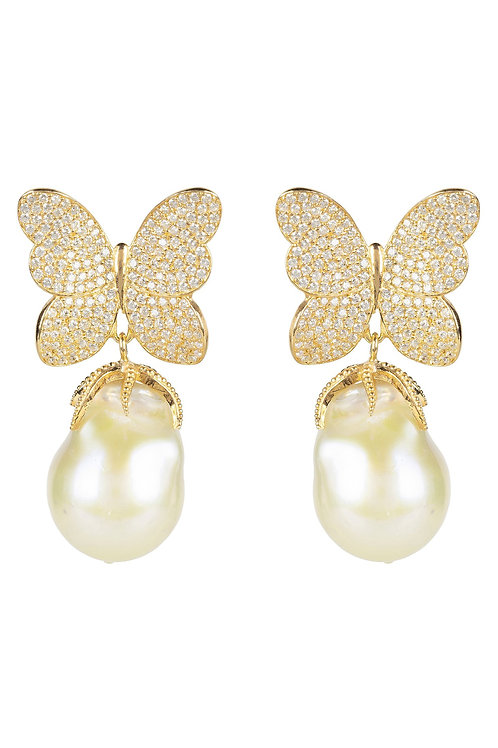 Baroque Pearl White Butterfly Earring Gold