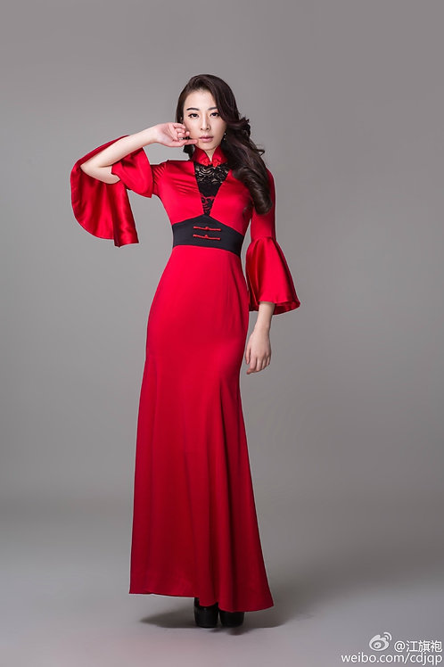 Bespoke Back Mesh Red Satin Dress