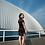 Thumbnail: Bespoke Black Shoulder Mesh Knee Length Dress