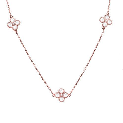 Flower Clover Long  Chain White Quartz Necklace Rosegold