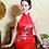 Thumbnail: Bespoke Moutan Peony High Slit Red Dress