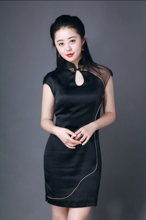 Gold Lining Knee Length Black Dress