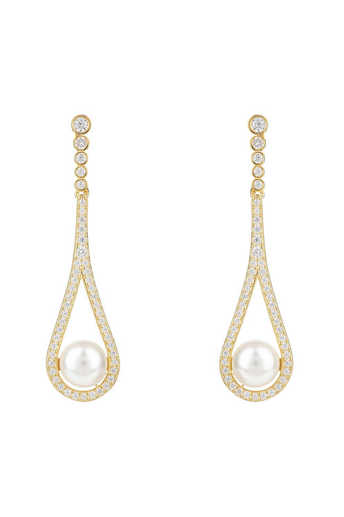 Cradled Pearl Drop Earrings Gold