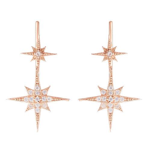 Star Bursts Ear Climber Pair Rosegold