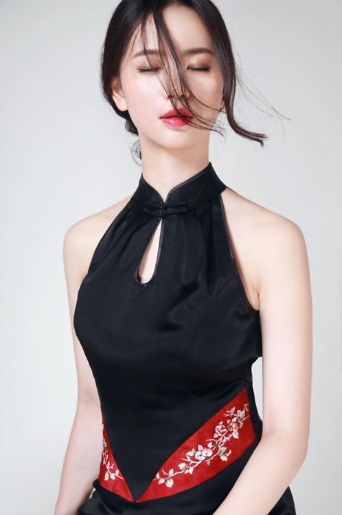 Bespoke Red Flower Side Band Black Dress