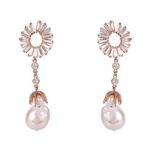 Baroque Pearl Baguette Drop Earrings Rosegold