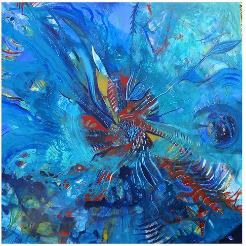 Flotando en el corazon del agua. 80 cm x 80 cm