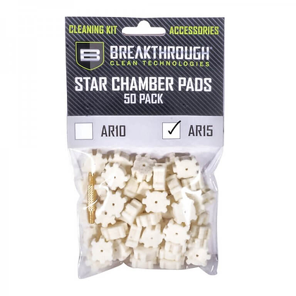 BREAKTHROUGH AR-15 CHAMBER STAR PAD – 50 PACK WITH 8-32 THREAD (MALE / MALE)