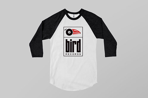 Unisex Bird Records T-shirt / Black Sleeves