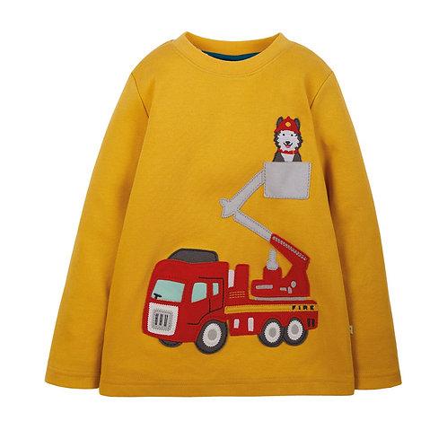 Shirt langarm Feuerwehr Aufnäher gelb