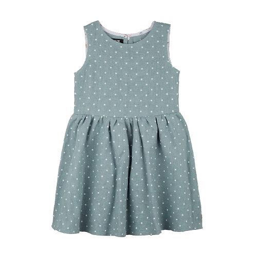 Pure Pure Leinen Kleid mint mit weissen Punkten