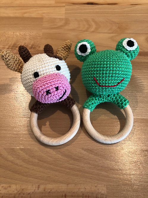 Häckelrassel Frosch und Kuh