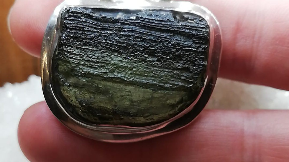 20.65g Moldavite set in Sterling Silver