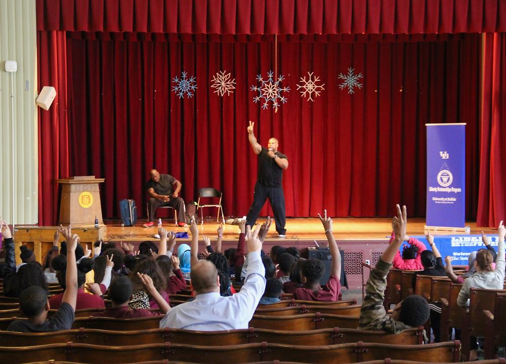 Keith Davis energizes the crowd at Futures Academy