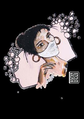 Mulher com máscara Pintado com os marcadores One4all da Molotow. Tamanho:21cmx29,7cm  Colecção privada. Não está à venda. | Private collection. Not for sale.  Woman with mask Painted with Molotow's One4all markers. Size: 21cmx29.7cm
